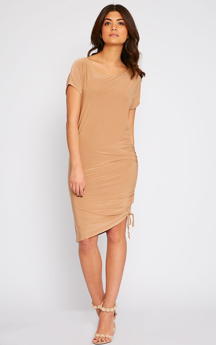 Joette Camel Slinky Gathered Dress 1