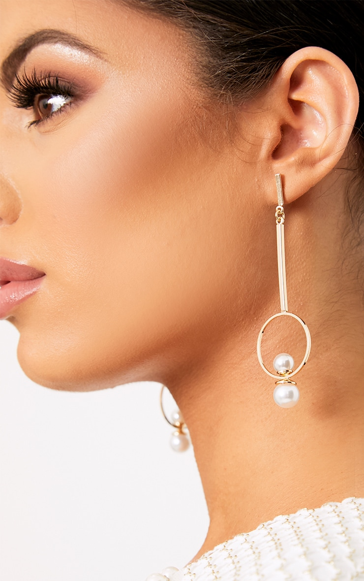 Jessica Gold Pearl Circle Drop Earrings 2
