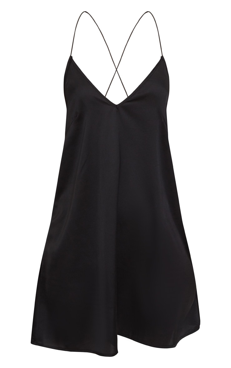 Black Satin Cami Shift Dress 3