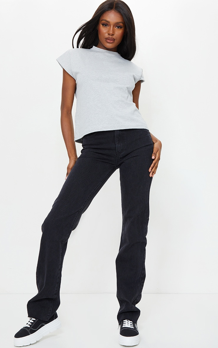 PRETTYLITTLETHING Tall Washed Black Long Leg Straight Jean 1