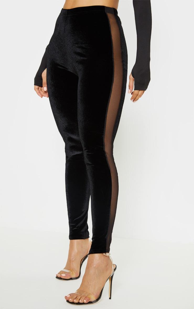 Black Velvet Mesh Panel Legging 2