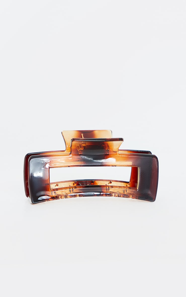 Tortoise Oversized Rectangle Cut Out Hair Clip 2
