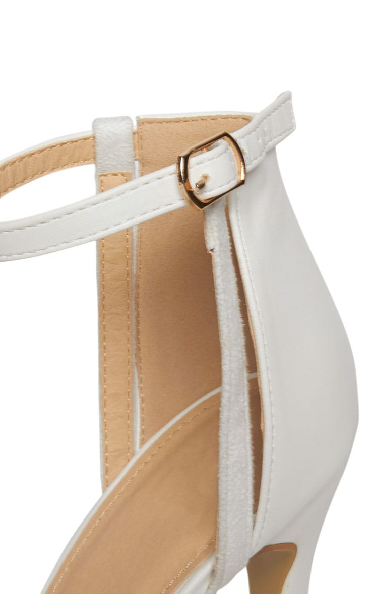 Cassia White Strap Heeled Sandals 8