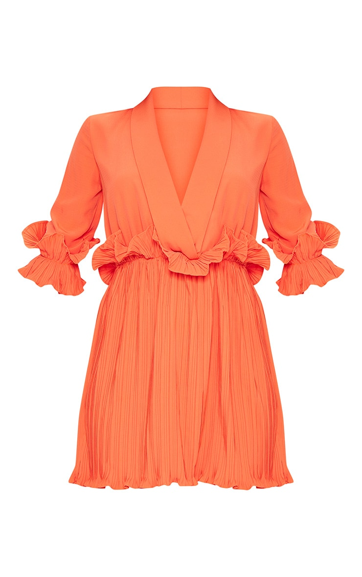 Bright Orange Frill Detail Pleated Skater Dress 3
