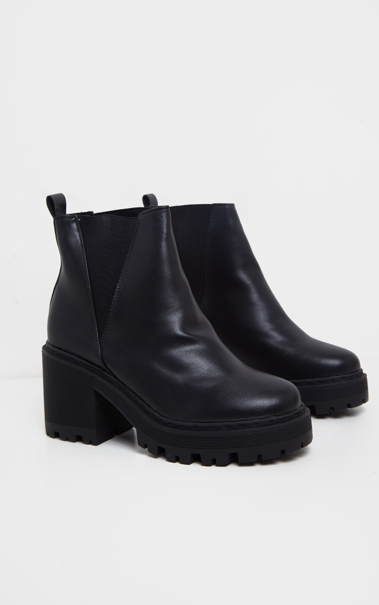 Black Wide Fit Cleated Chunky Chelsea Boot 3