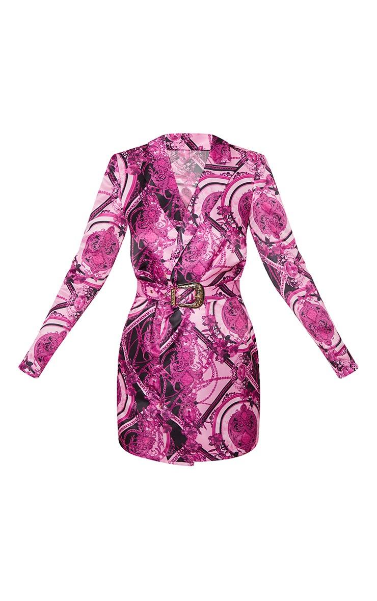 Purple Scarf Print Satin Blazer Dress  3