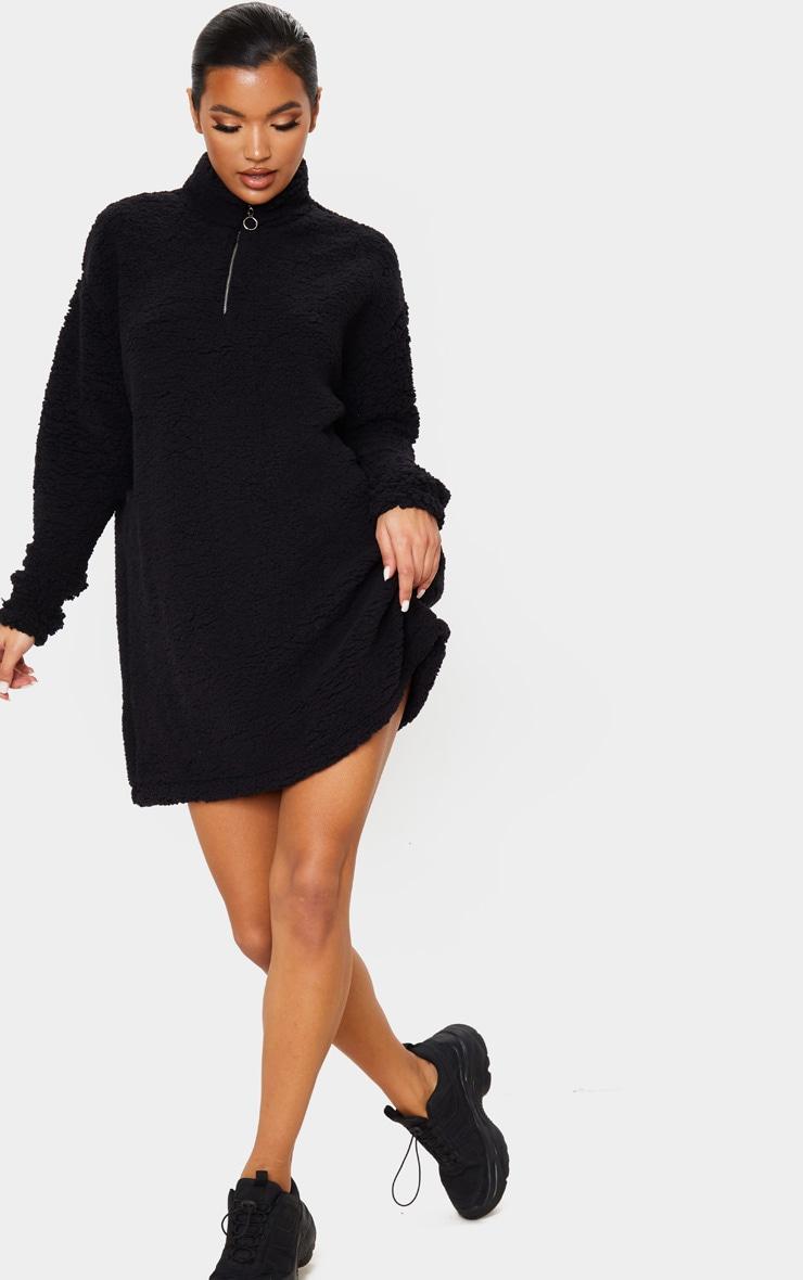 Black Oversized Borg Zip Neck Sweater Dress 4