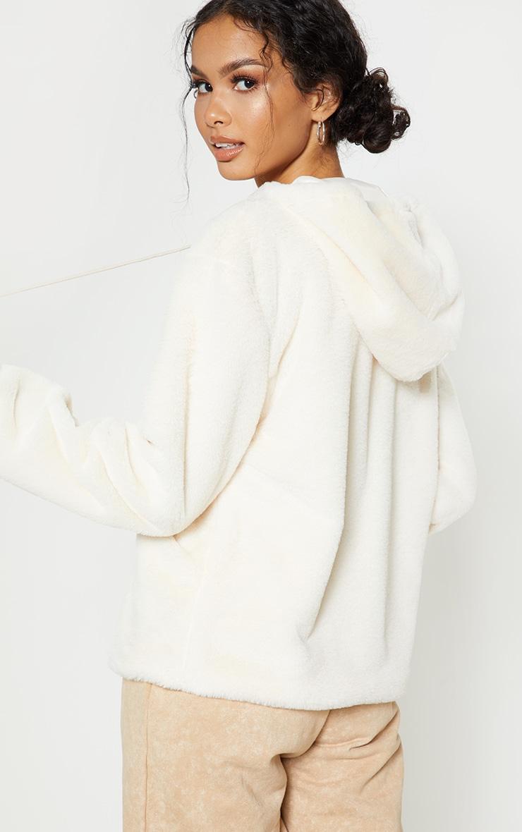 Cream Faux Fur Hoodie 2