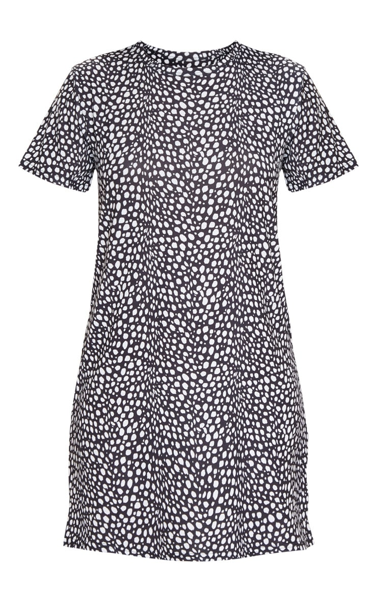 Black Dalmatian Print Short Sleeve T Shirt Dress 5