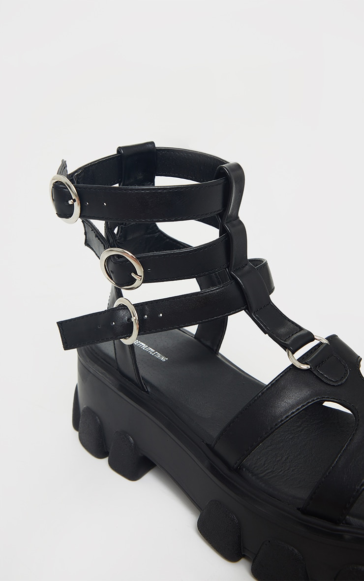 Black Chunky Sole Round Buckle Sandals 4