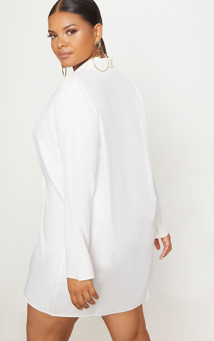 Plus White Oversized Blazer Dress 2