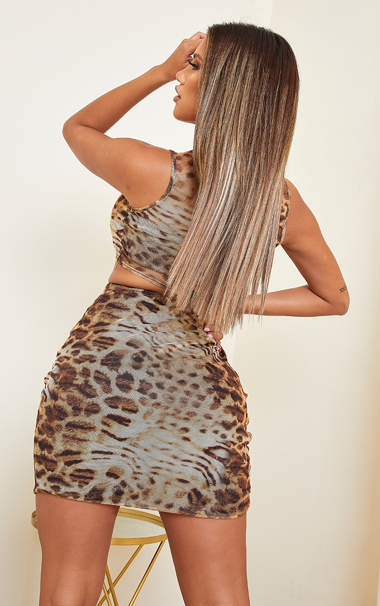 Shape Brown Leopard Print Sheer Mesh Sleeveless Crop Top 2