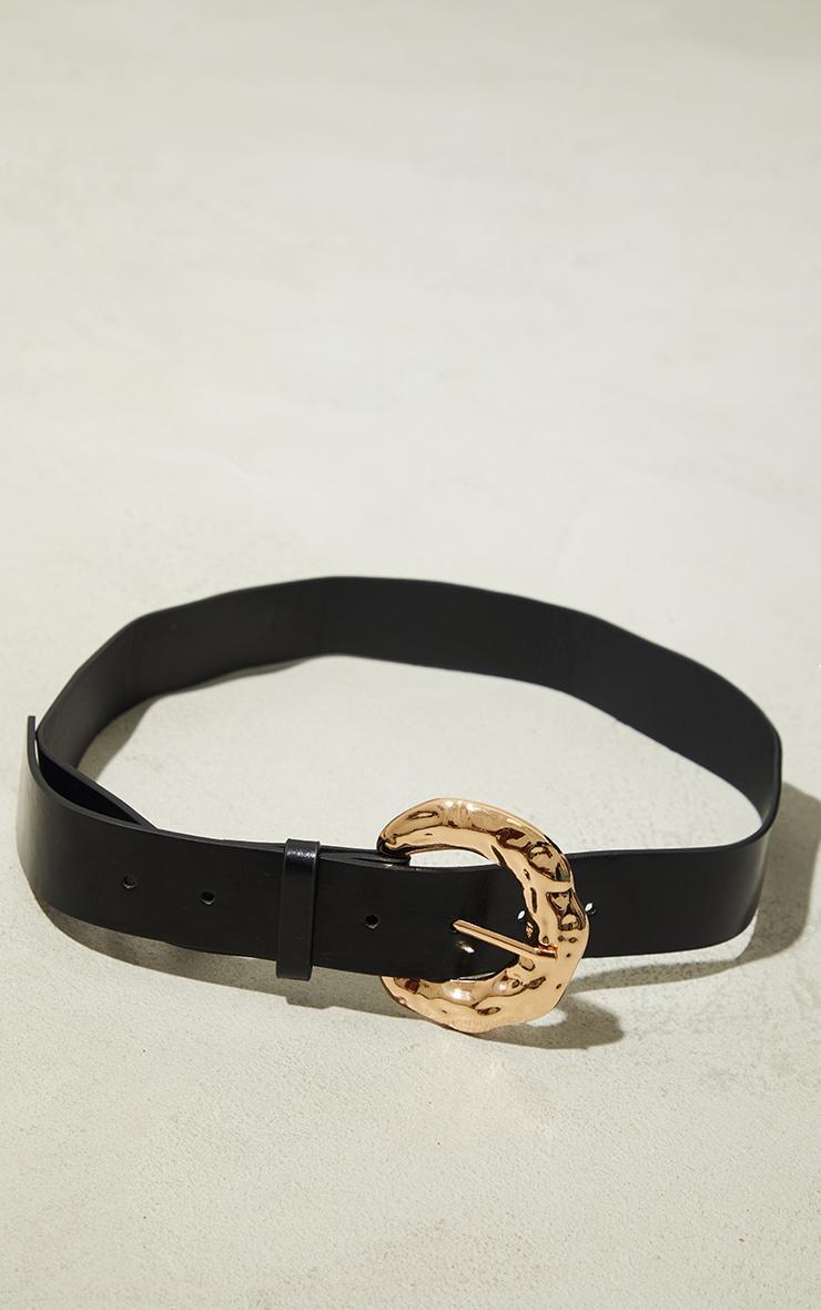 Gold Hammered Buckle Waist Belt 2