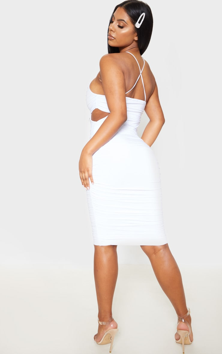 White Slinky Ruched Cross Back Midi Dress 2