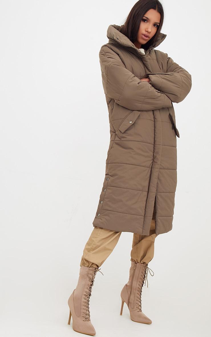 Premium Khaki Longline Puffer Jacket 4