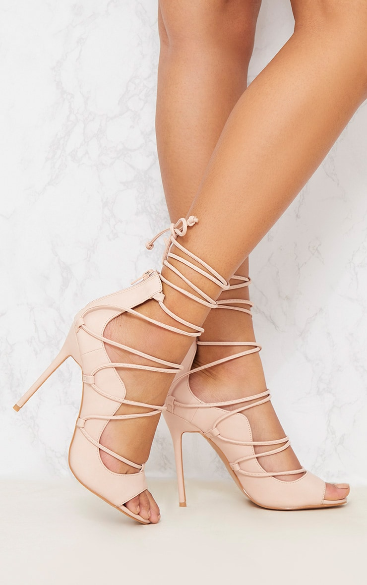 Nude Ankle Lace Up Heel 1