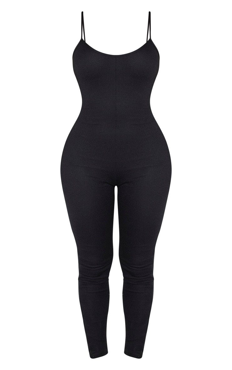 Shape Black Knit Strappy Jumpsuit 3