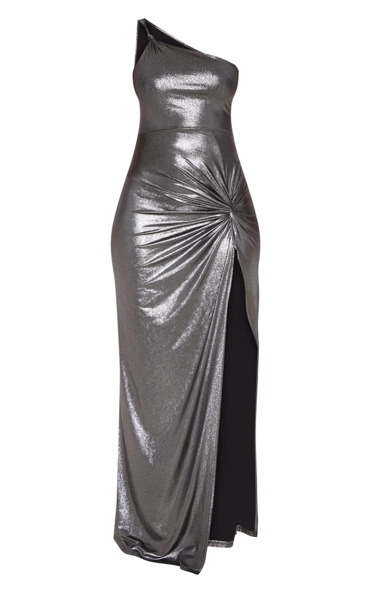 Black Metallic One Shoulder Knot Detail Maxi Dress 4