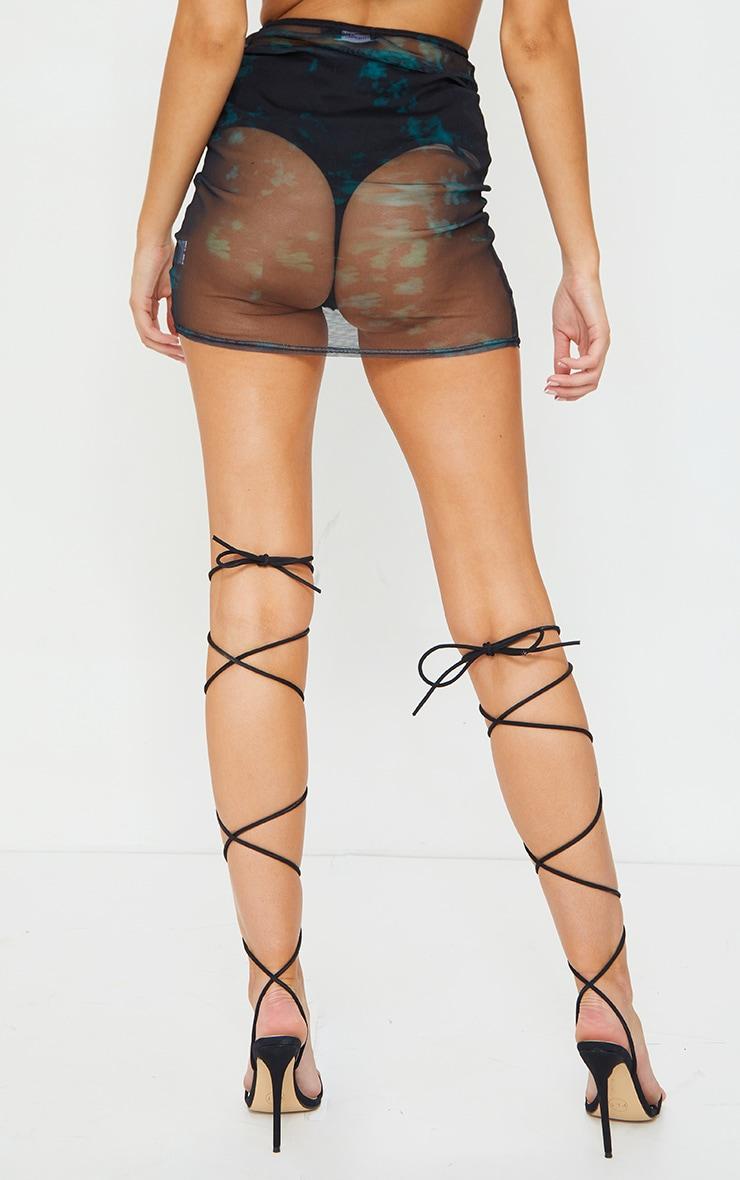 Teal Tie Dye Print Mesh Ring Detail Bodycon Mini Skirt 3