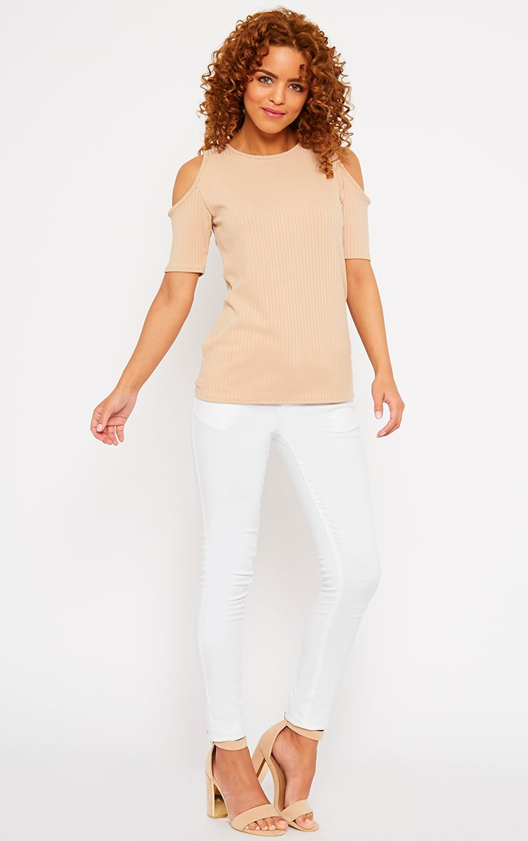Basic Camel Cut Out Shoulder Tee 3