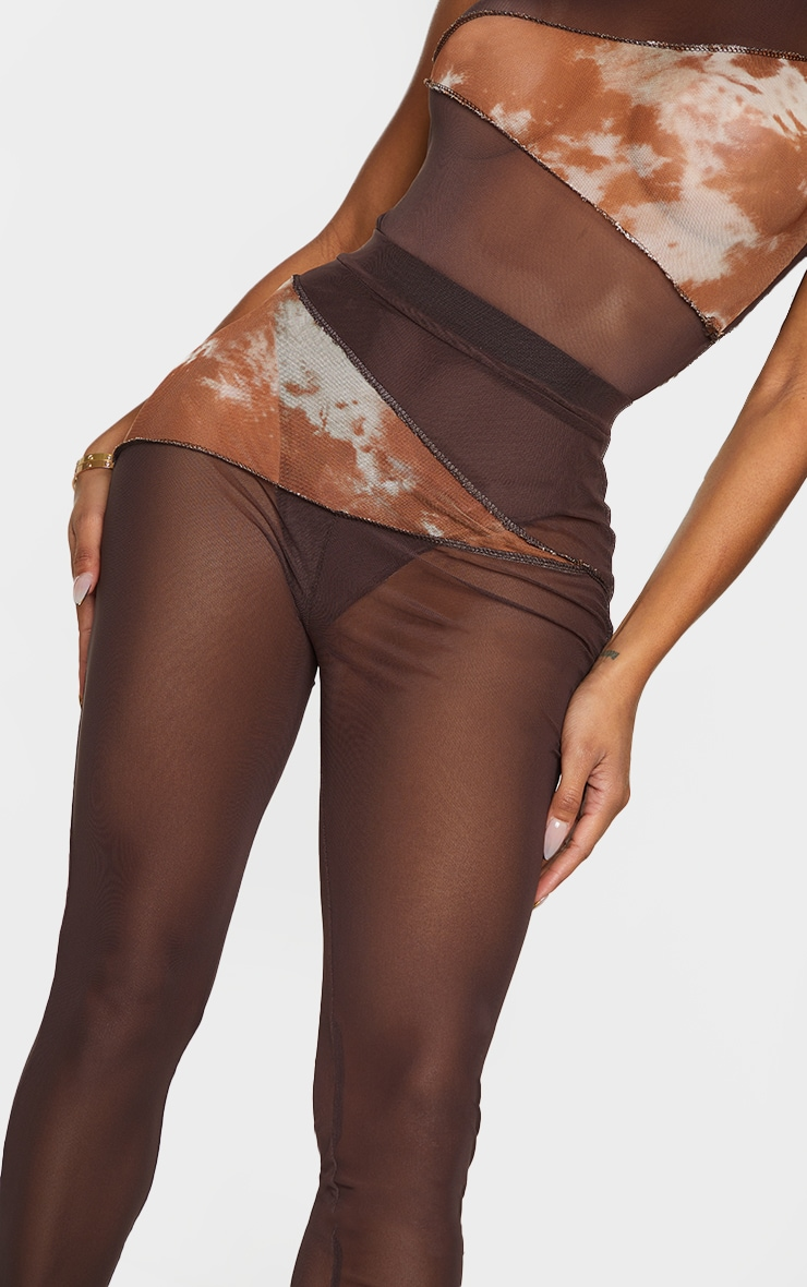 Shape Chocolate Brown Tie Dye Mesh Panel Detail Leggings 4