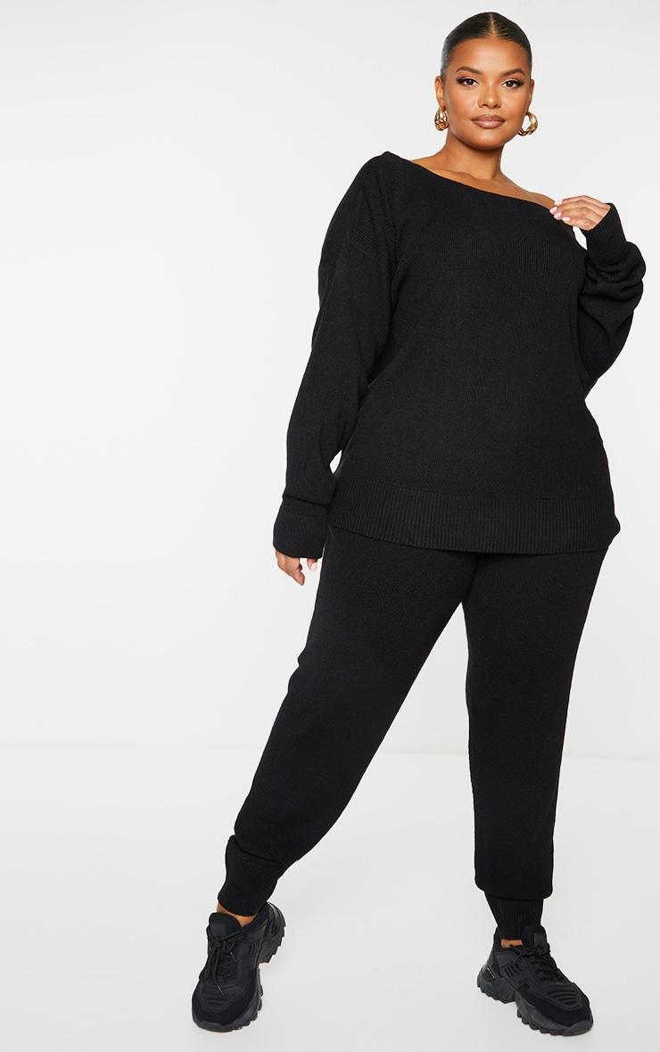 PLT Plus - Ensemble lounge en maille tricot noire 1