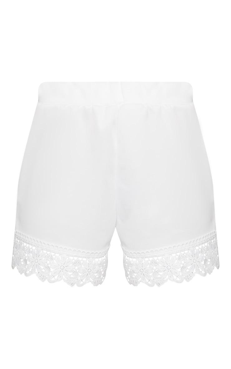 White Crochet Trim Short 3