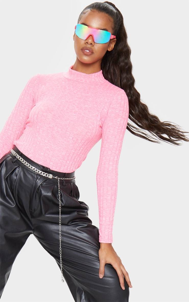 Hot Pink High Neck Long Sleeve Top 5