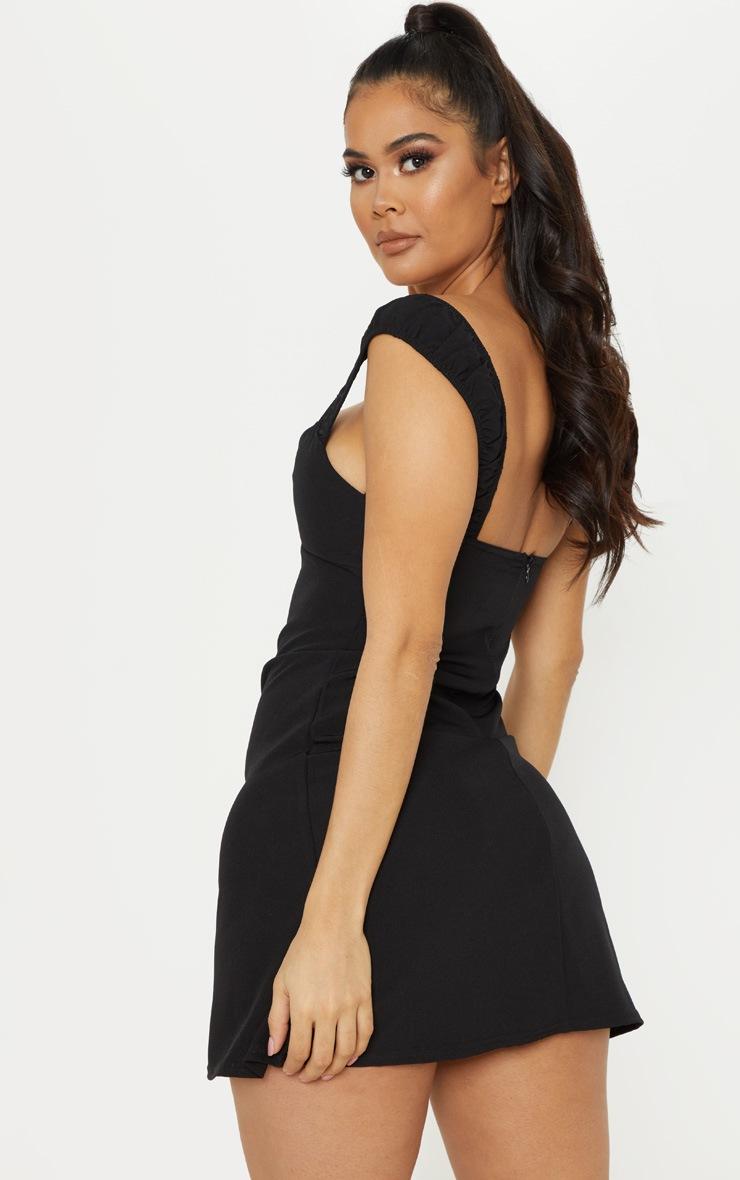 Black Ruched Strap Shift Dress 2