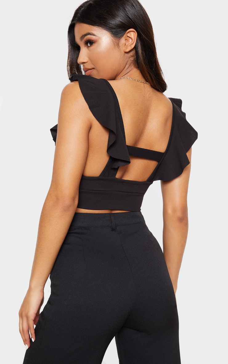 Black Frill Edge Plunge Crop Top  2