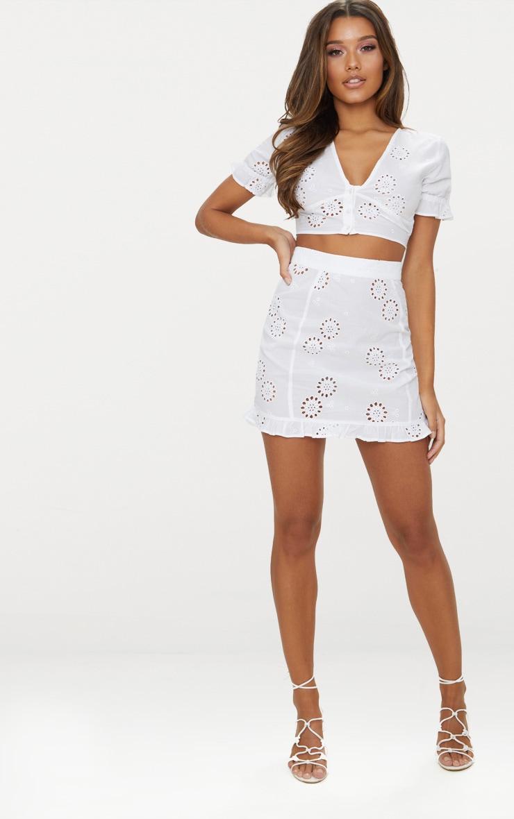 White Embroidered Frill Hem Mini Skirt 4