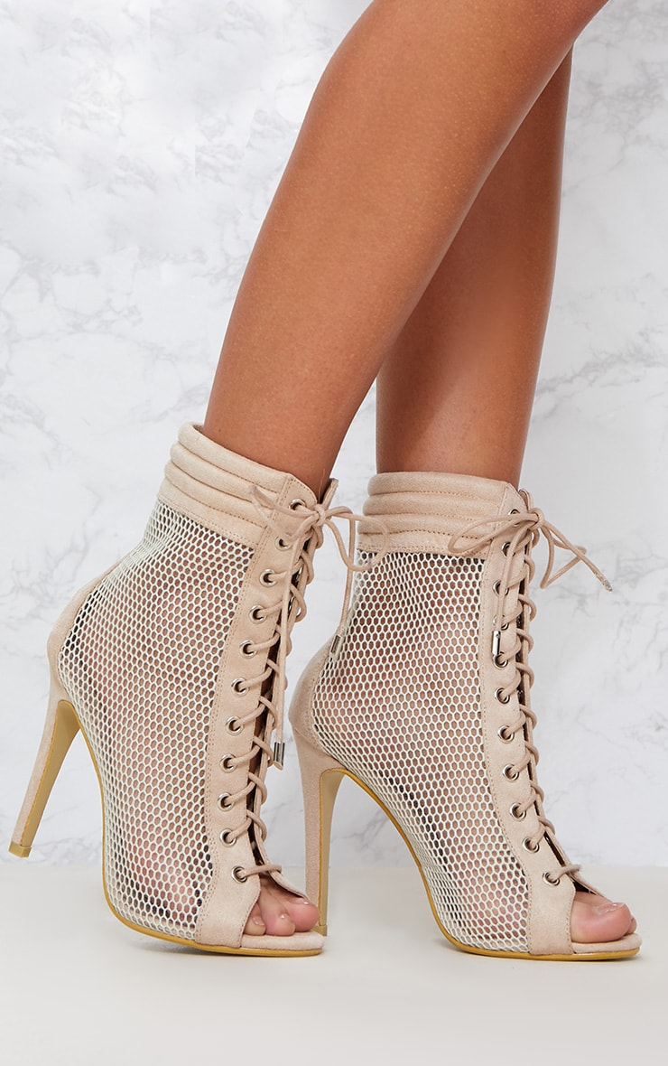 Beige Lace Up Mesh Peep Toe Boot 1