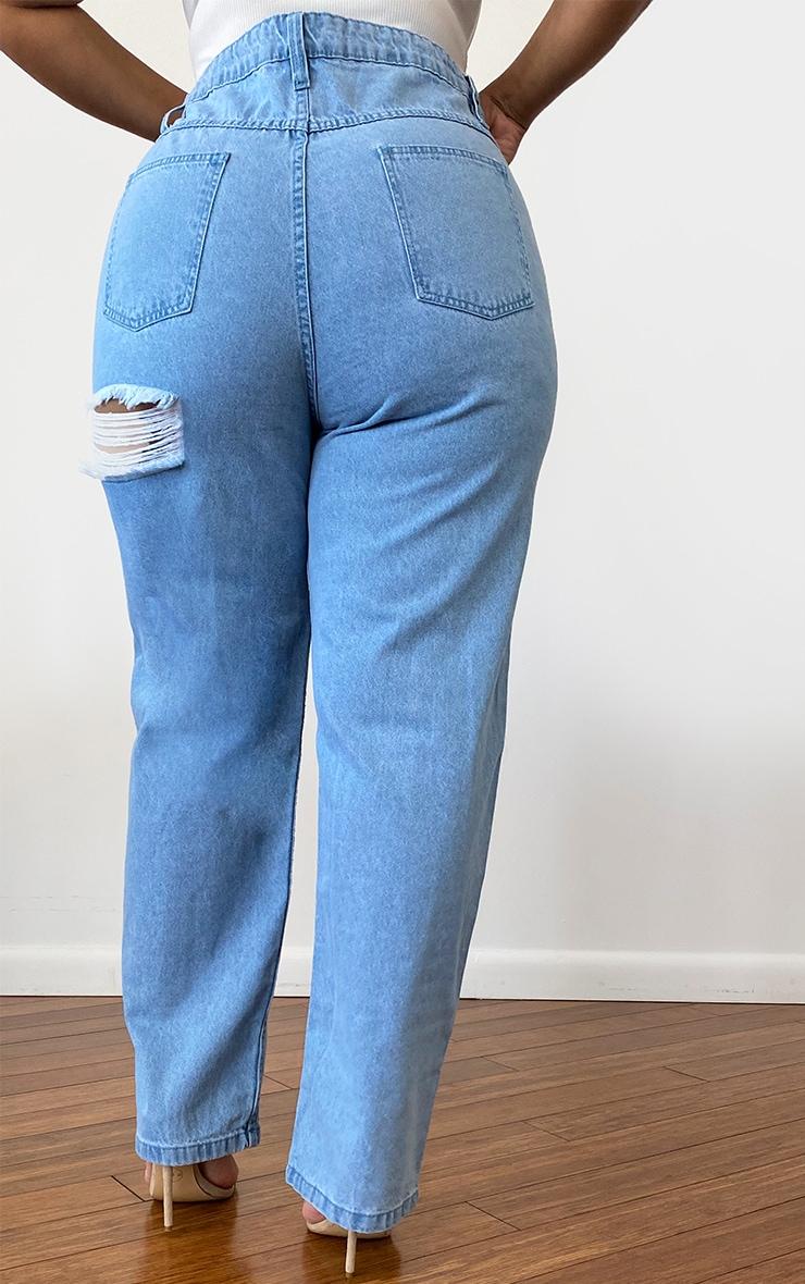 Plus Light Blue Wash Bum Rip Straight Leg Jeans 3
