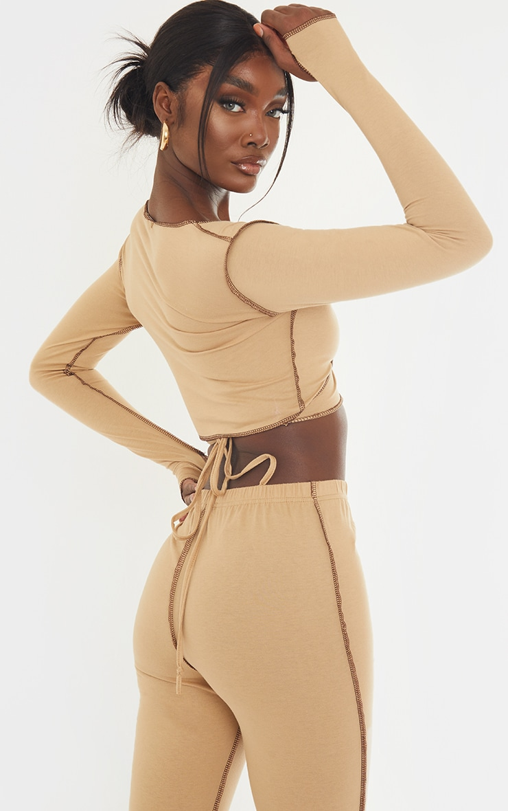 Tall Stone Tie Back Contrast Seam Crop Top 2