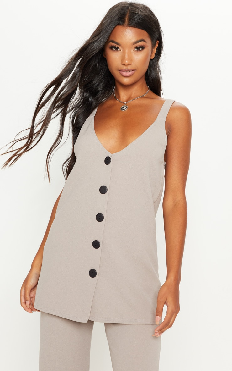 Grey Longline Button Detail Cami Top 1