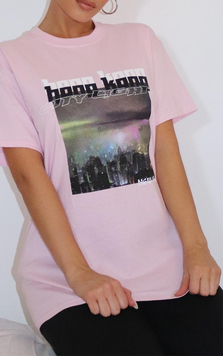 Pink City Lights New Age Printed T Shirt 4