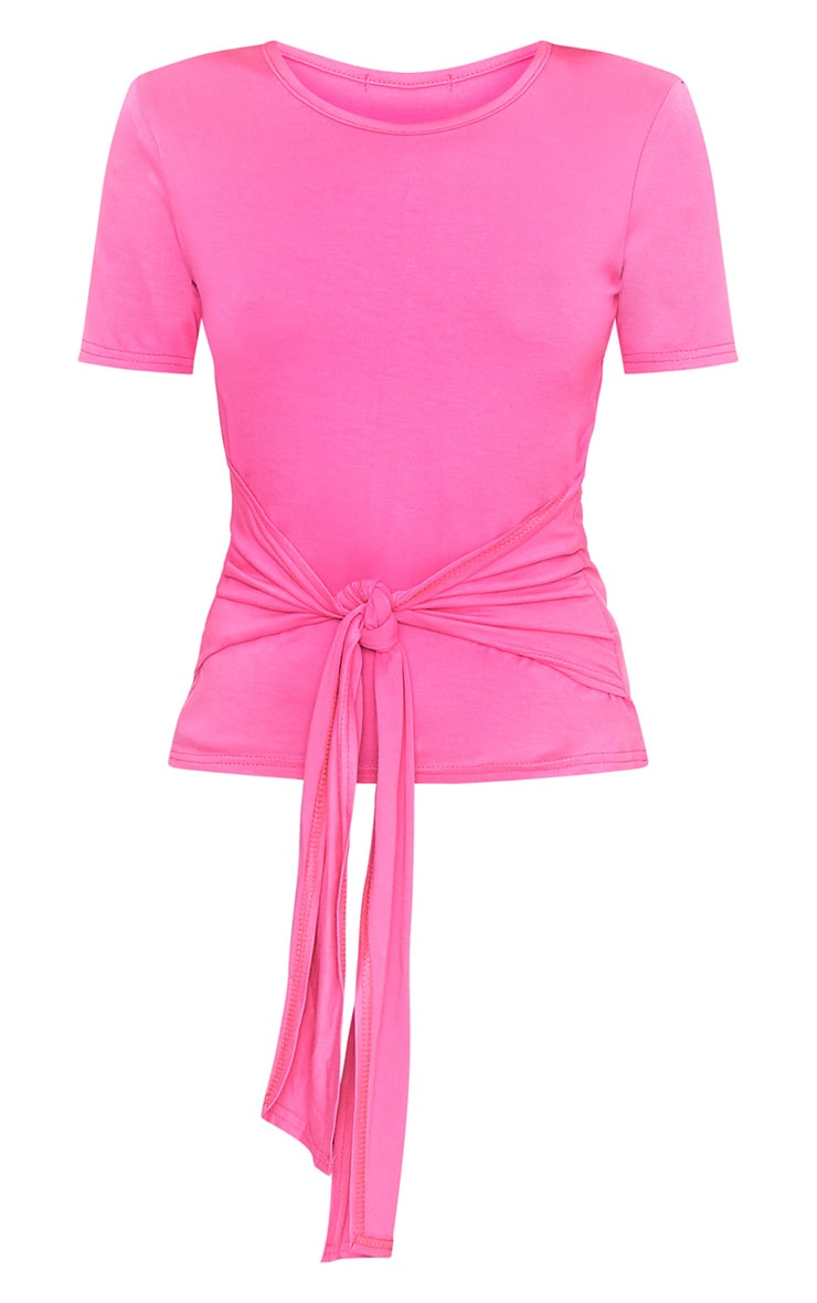 Hot Pink Tie Front T-Shirt 3