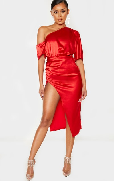 Red One Shoulder Ruched Skirt Midi Dress