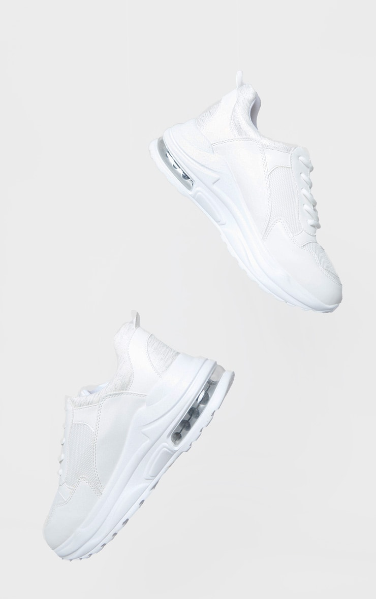 White Bubble Panel Sole Lace Up Sneakers 3