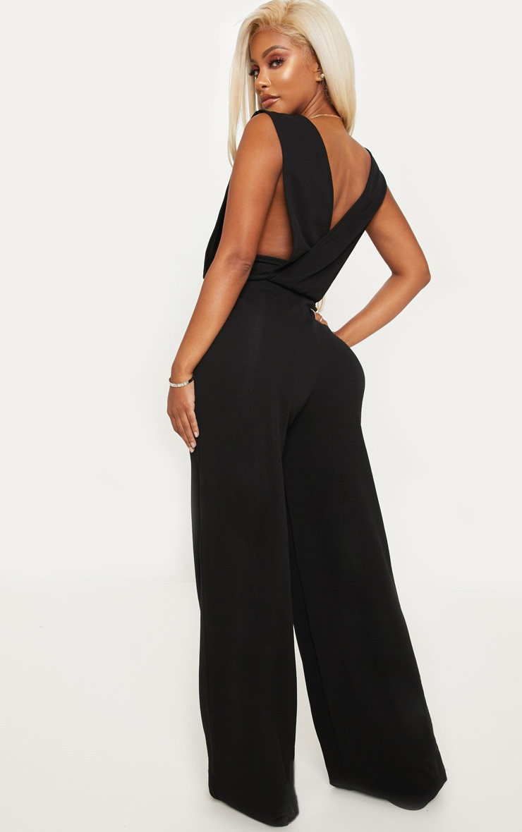 Shape Black Side Boob Wide Leg Jumpsuit 2