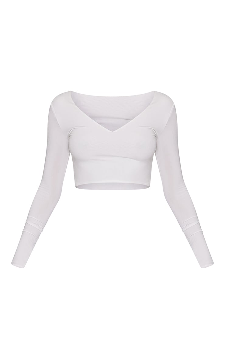 White Second Skin Long Sleeve V Neck Crop Top 5
