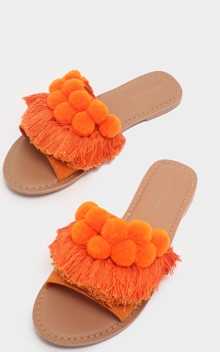 Orange Pom Pom Leather Sandal 3