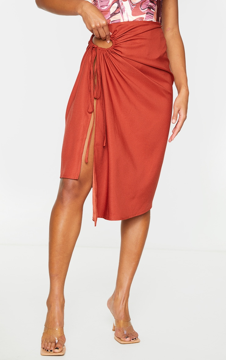 Rust Woven Ruched Cut Out Detailing Midi Skirt 2