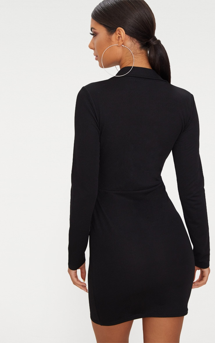 Black Zip Detail Blazer Bodycon Dress 2