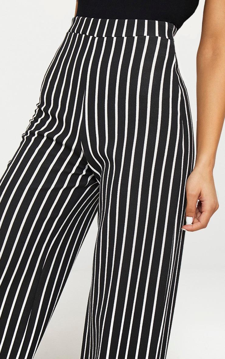 Black Crepe Pinstripe Wide Leg Trouser 5