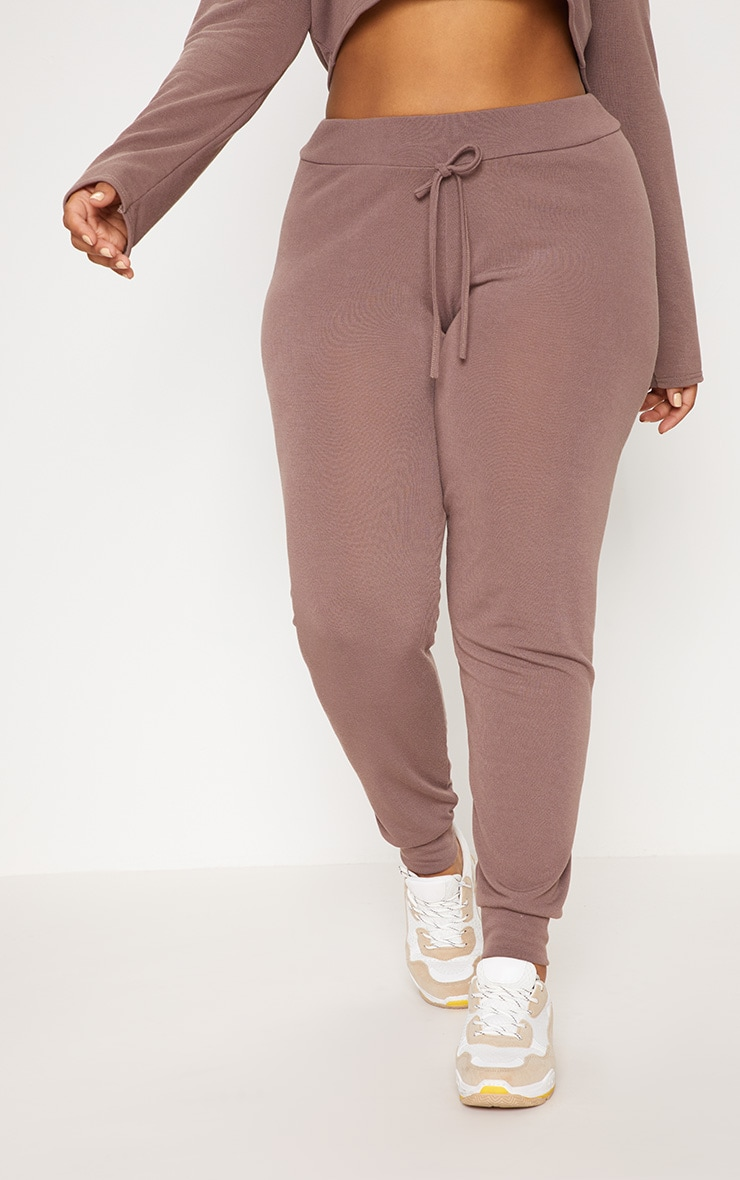 Plus Chocolate Knitted Joggers 2