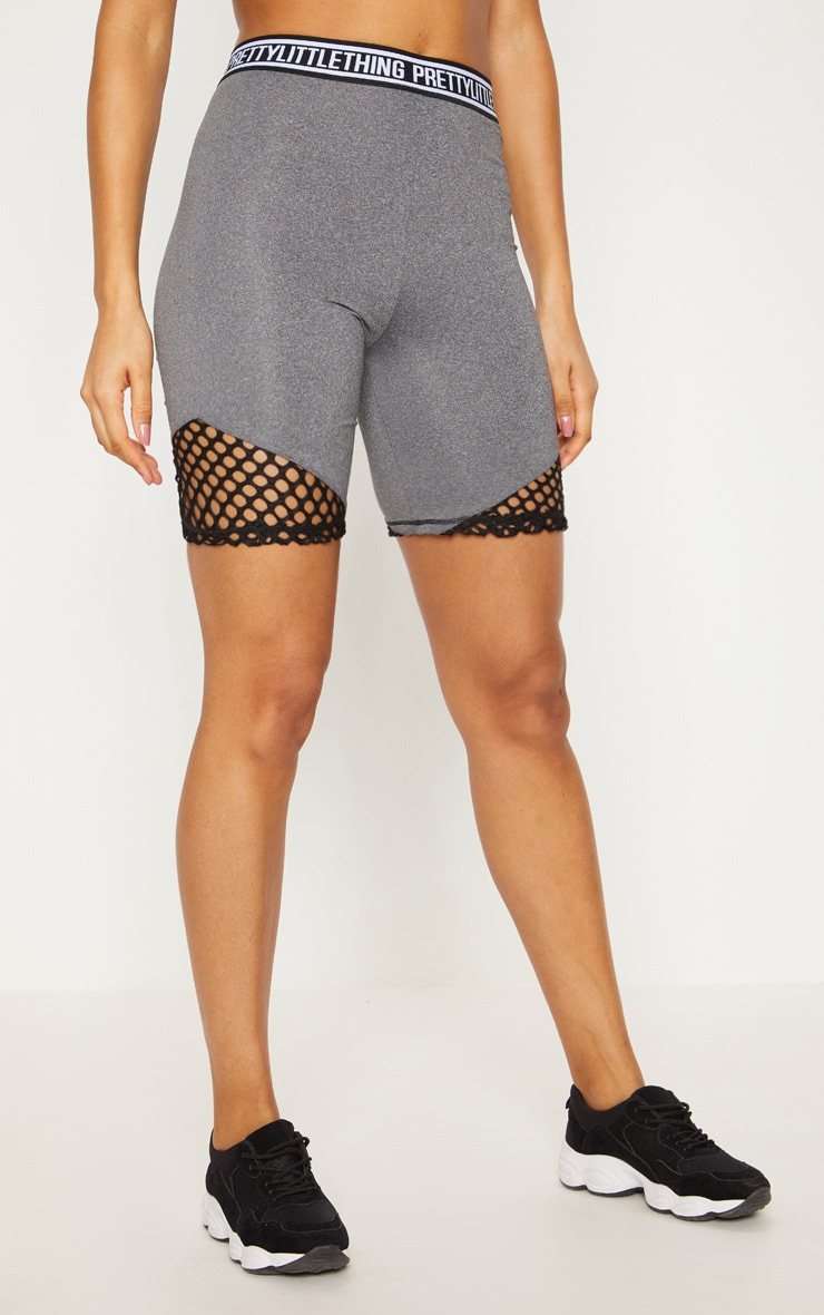 PRETTYLITTLETHING Charcoal Fishnet Detail Cycling Shorts  3