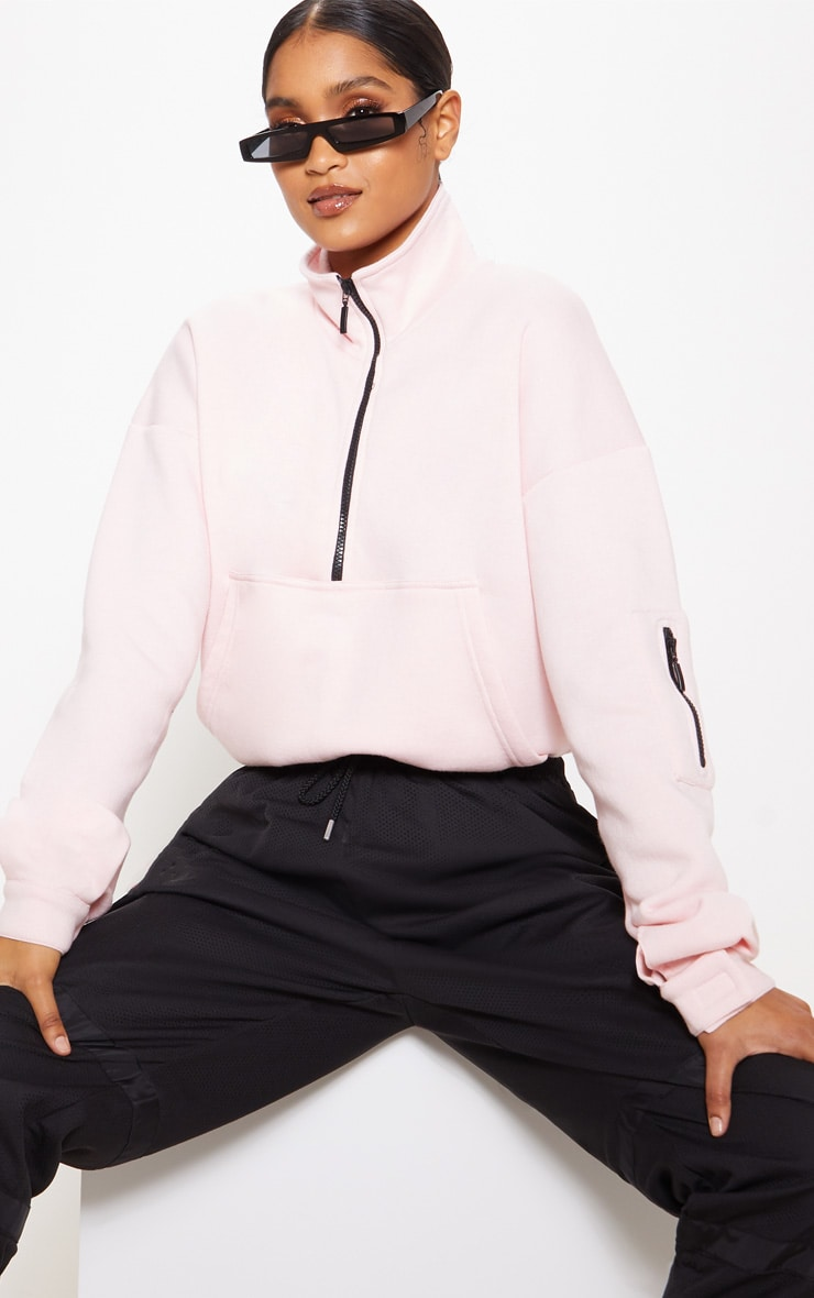 Baby Pink Oversized Zip Front Sweater  1