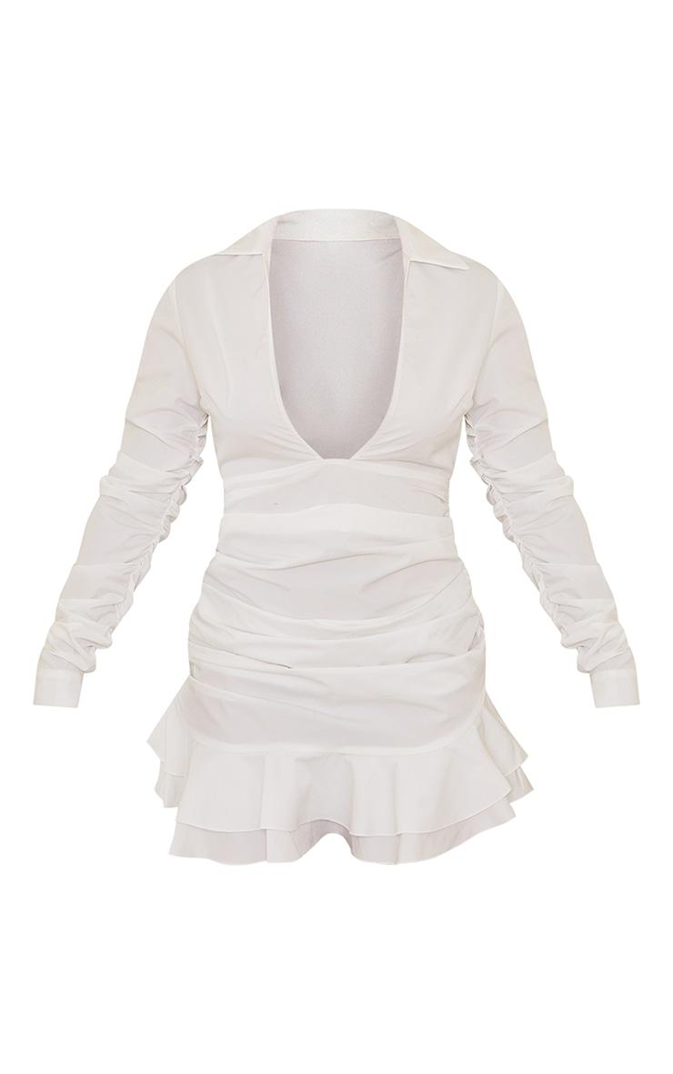White Woven Plunge Shirt Style Frill Hem Bodycon Dress 5