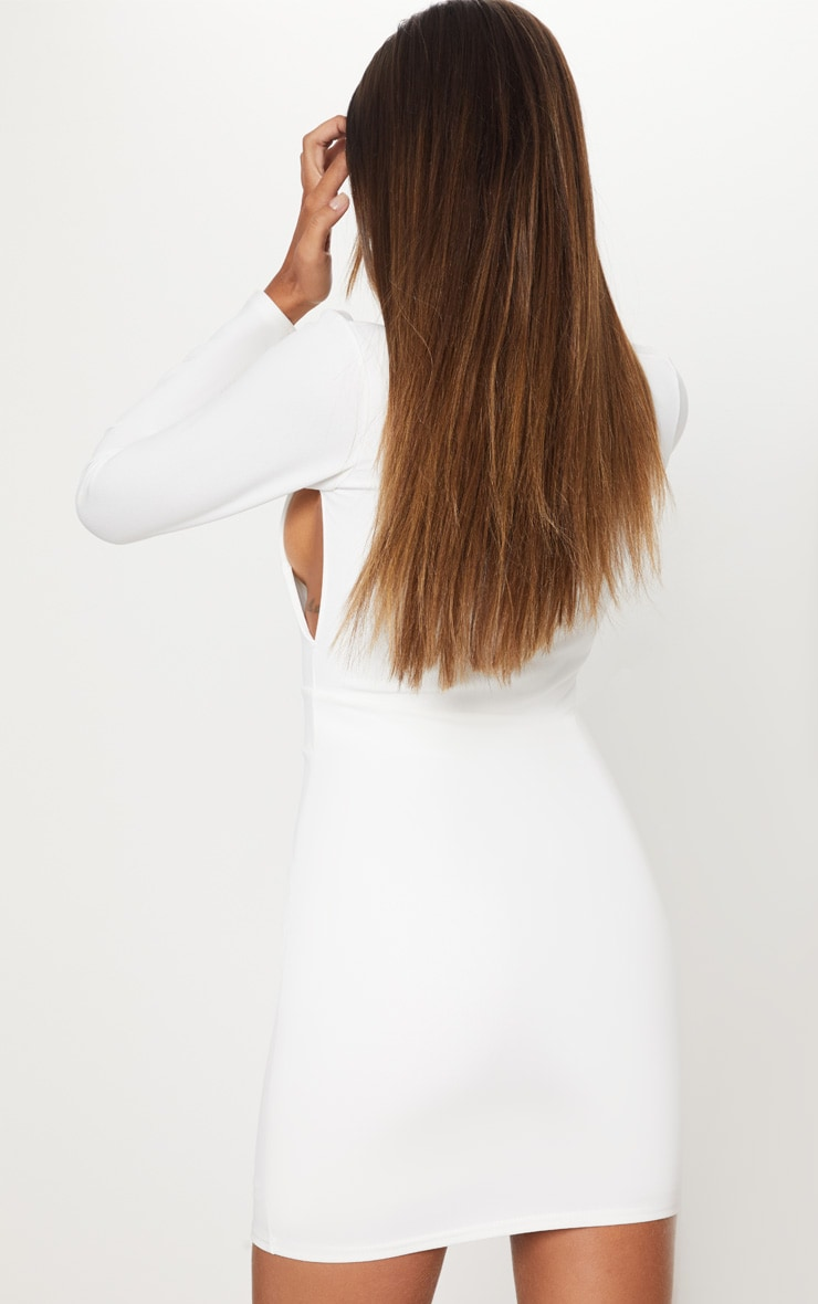 White Plunge Cut Out Sleeve Bodycon Dress 2